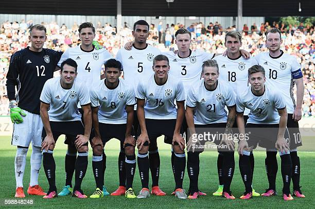 The players of Germany line up during the Under21 friendly match between U21 Germany and U21 Slovakia at Auestadion on September 2 2016 in Kassel...