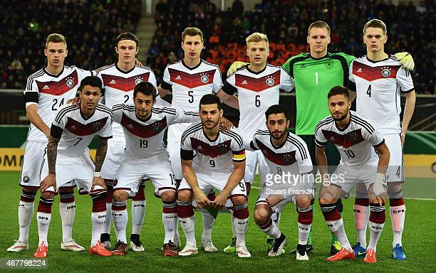 The players of Germany line up for a picture during a U21 International friendly match between U21 Germany and U21 Italy on March 27 2015 in...