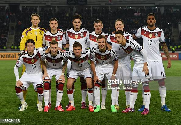 The players of Germany line up for a picture prior to the EURO 2016 Group D Qualifier match between Georgia and Germany at Boris Paichadze Stadium on...