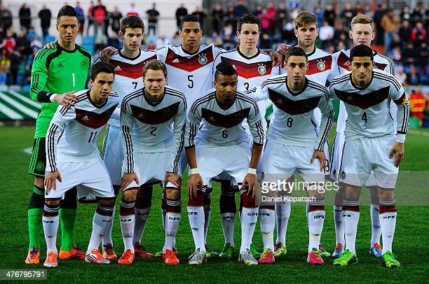 The players of Germany pose prior to the under 20 International friendly match between U20 Germany and U20 Switzerland on March 5 2014 in Pirmasens...