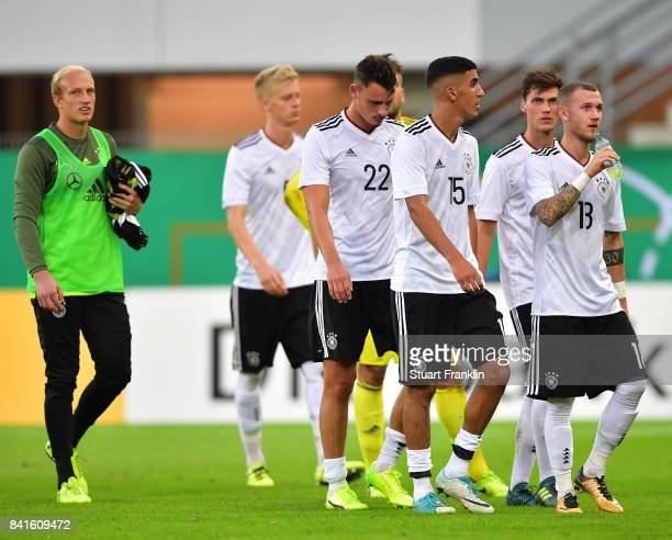 The players of Germany U21 look dejected after the International friendly match between Germany U21 and Hungary U21 at the Benteler Arena on...