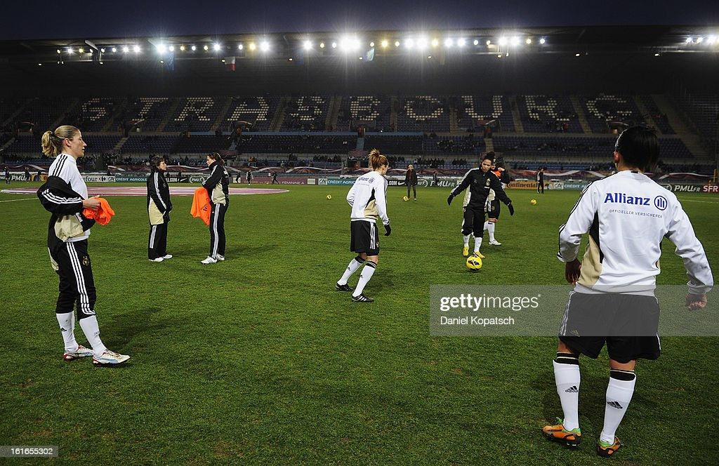The players of Germany warm up prior the international friendly match between France and Germany at Stade de la Meinau on February 13, 2013 in Strasbourg, France.