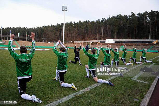 The players of Germany warm up prior the U16 international friendly match between Germany and Italy on March 5 2013 at Waldstadion in Homburg Germany