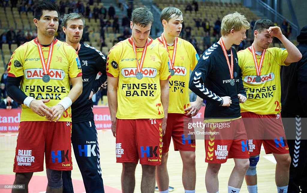 The players of GOG Handball looks dejected after the Santander Cup Final4 - Final between HC Midtjylland and GOG Handball in Sparekassen Fyn Arena on February 07, 2016 in Odense, Denmark.
