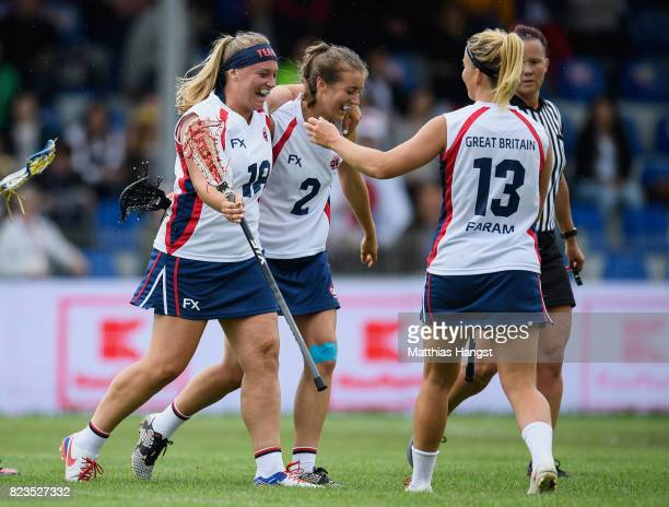 The players of Great Britain celebrate during the Lacrosse Women's match between Great Britain and Japan of The World Games at Olawka Stadium on July...