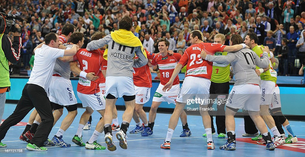 The players of Hamburg celebrate at the end of the Velux EHF Champions League quarter final second leg match between HSV Handball and SG Flensburg-Handewitt at O2 World on April 28, 2013 in Hamburg, Germany.