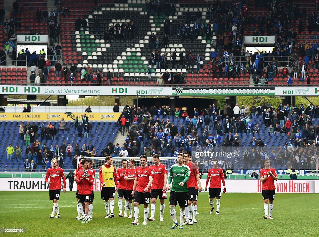 The players of Hannover look dejected after the Bundesliga match between Hannover 96 and FC Schalke 04 at the HDI Arena on April 30, 2016 in Hanover, Lower Saxony.