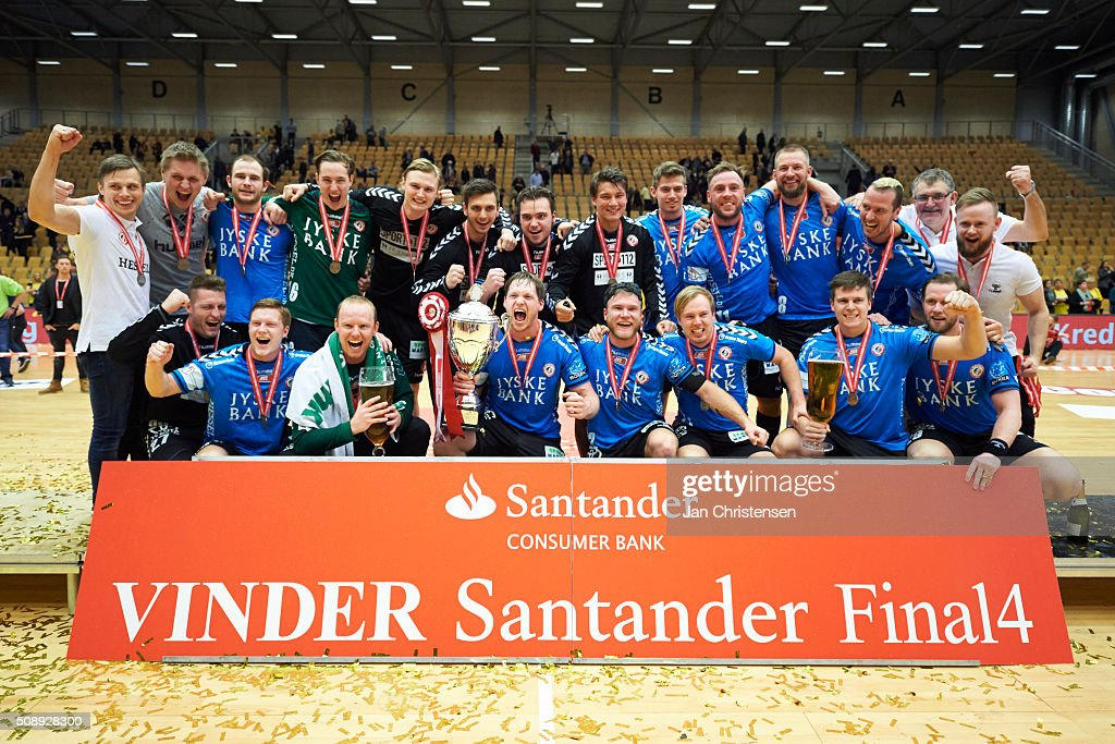 The players of HC Midtjylland celebrating after the Santander Cup Final4 - Final between HC Midtjylland and GOG Handball in Sparekassen Fyn Arena on February 07, 2016 in Odense, Denmark.