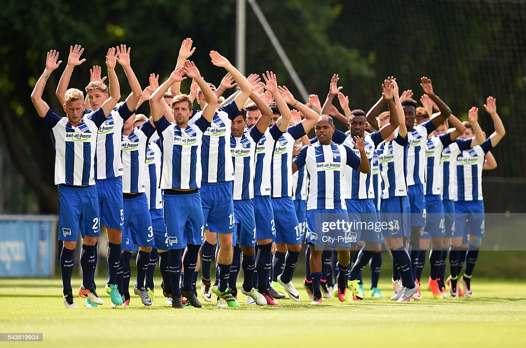 The players of Hertha BSC in action during the training on june 29, 2016 in Berlin, Germany.
