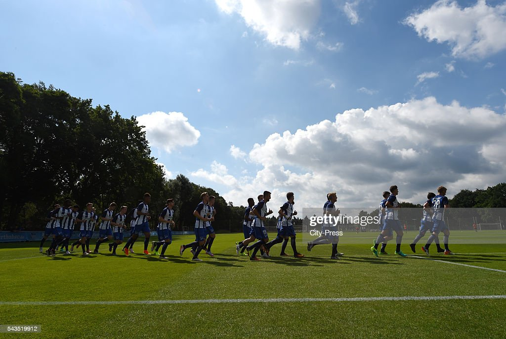 The players of Hertha BSC runs during the training on june 29, 2016 in Berlin, Germany.