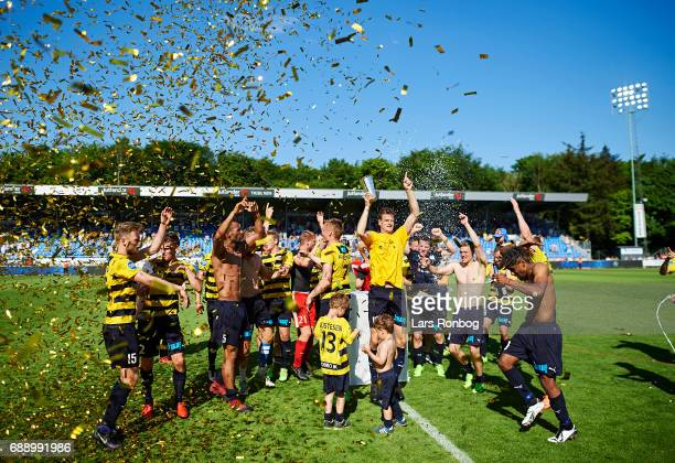 The players of Hobro IK celebrate winning the match and the NordicBet LIGA with promotion to the Alka Superliga after the Danish NordicBet LIGA 1...