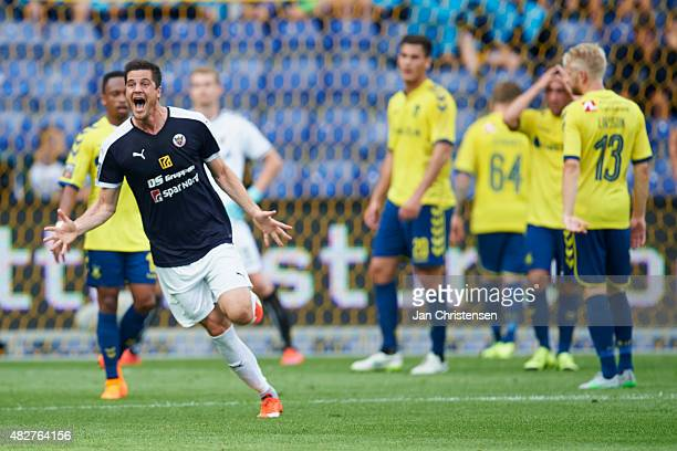 The players of Hobro IK celebrating after the 02 selfgoal from Goalkeeper Lukas Hradecky of Brondby IF during the Danish Alka Superliga match between...