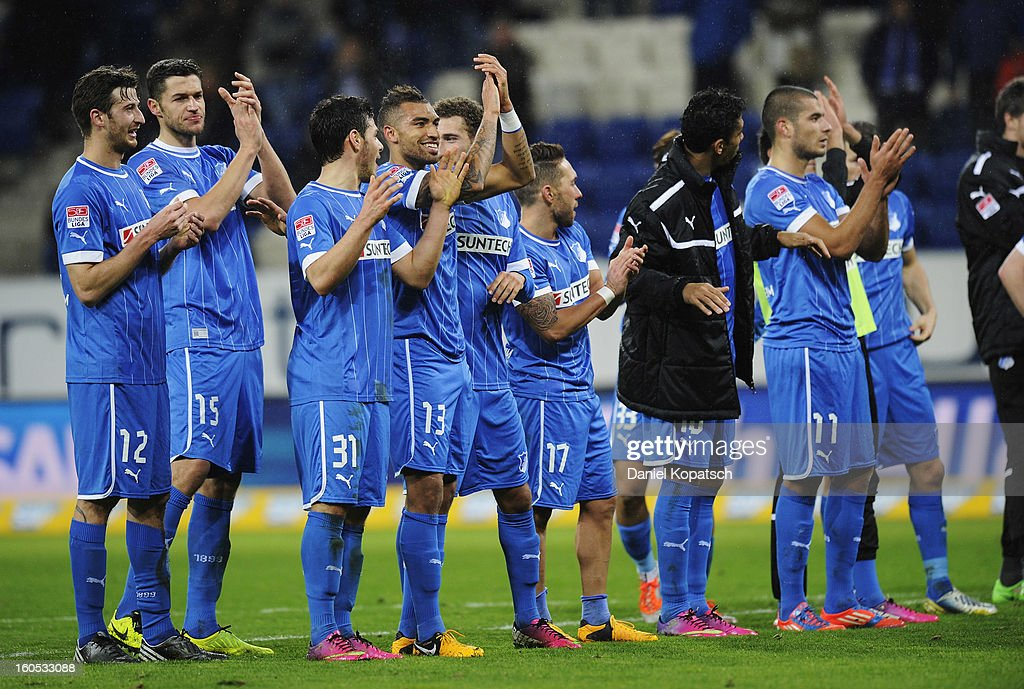 The players of Hoffenheim applaud the fans as they celebrate their victory after the Bundesliga match between TSG 1899 Hoffenheim and Sc Freiburg at Rhein-Neckar-Arena on February 2, 2013 in Sinsheim, Germany.