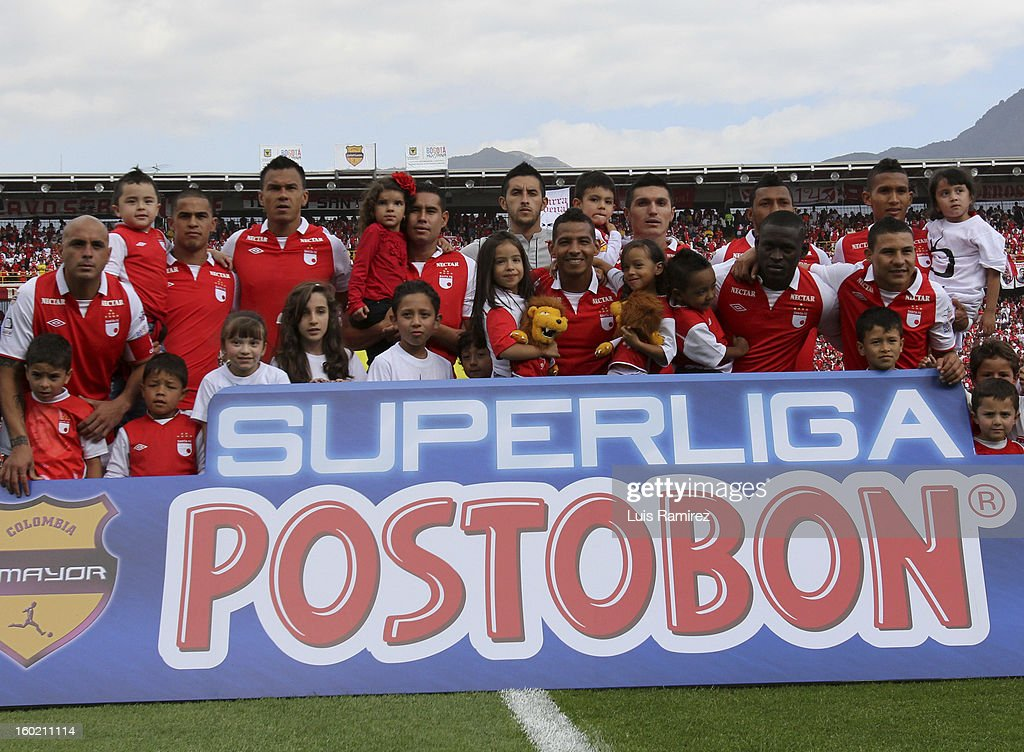 "The Players of Independiente Santa Fe pose for a photo during the match between Independiente Santa Fe and Millonarios as part of the the Champions Super League at Nemesio Camacho ""El Campin"" stadium on January 27, 2013 in Bogota, Colombia."