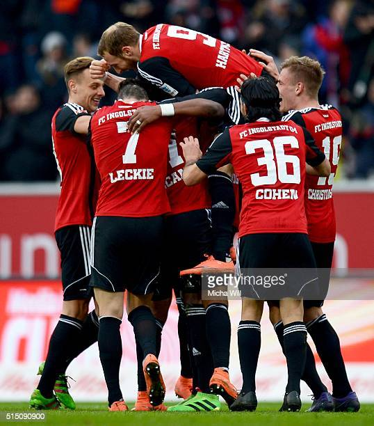 The players of Ingolstadt celebrate their teams third goal by Dario Lezcano Farina during the Bundesliga match between FC Ingolstadt and VfB...