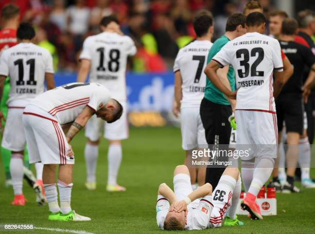 The players of Ingolstadt show their disappointment after the Bundesliga match between SC Freiburg and FC Ingolstadt 04 at SchwarzwaldStadion on May...