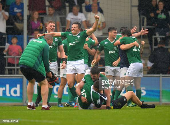 The players of Ireland celebrates beating New Zealand at the final whistle during the World Rugby U20 Championship match between New Zealand and...