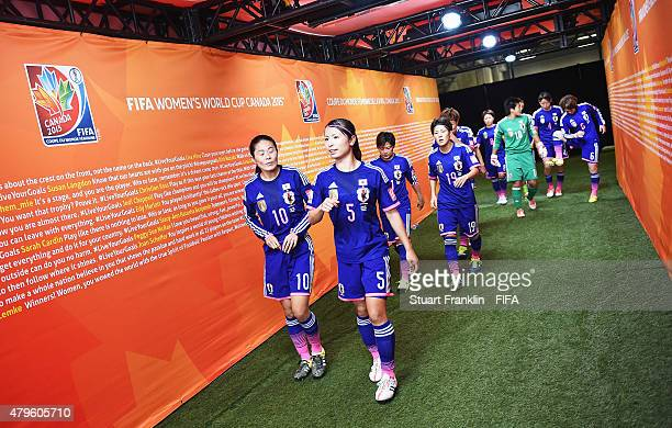 The players of Japan walk down the tunnel during the FIFA Women's World Cup Final between USA and Japan at BC Place Stadium on July 5 2015 in...
