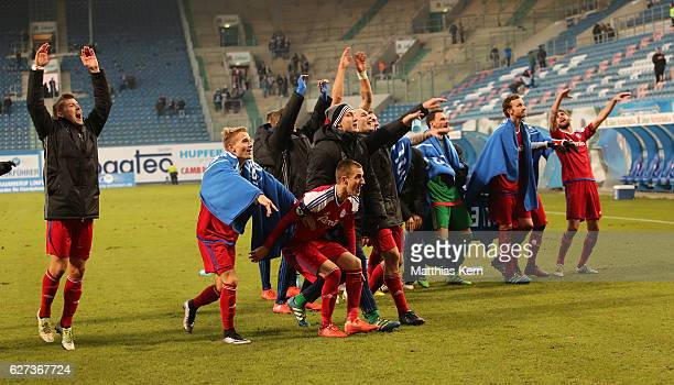 The players of Kiel show their delight after winning the third league match between FC Hansa Rostock and Holstein Kiel at Ostseestadion on December 3...