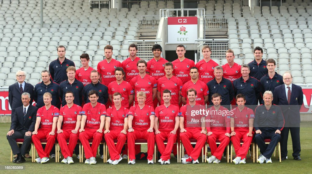 The players of Lancashire CCC line up for a team photograph wearing the T20 kit during a pre-season photocall at Old Trafford on April 2, 2013 in Manchester, England.