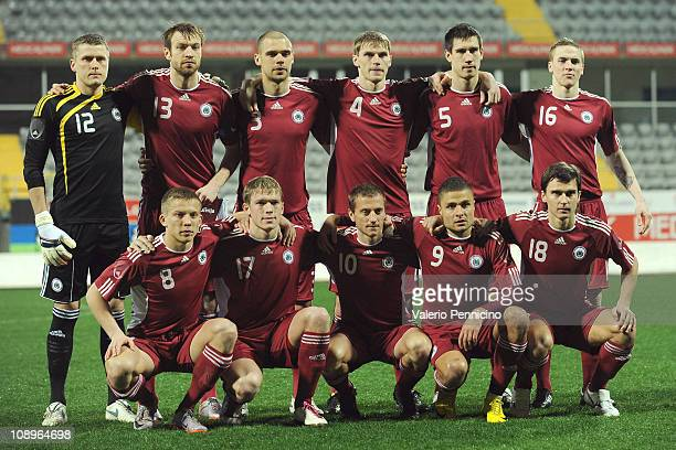 The players of Latvia line up prior to the international friendly match between Latvia and Bolivia at Mardan Sports Complex stadium on February 9...
