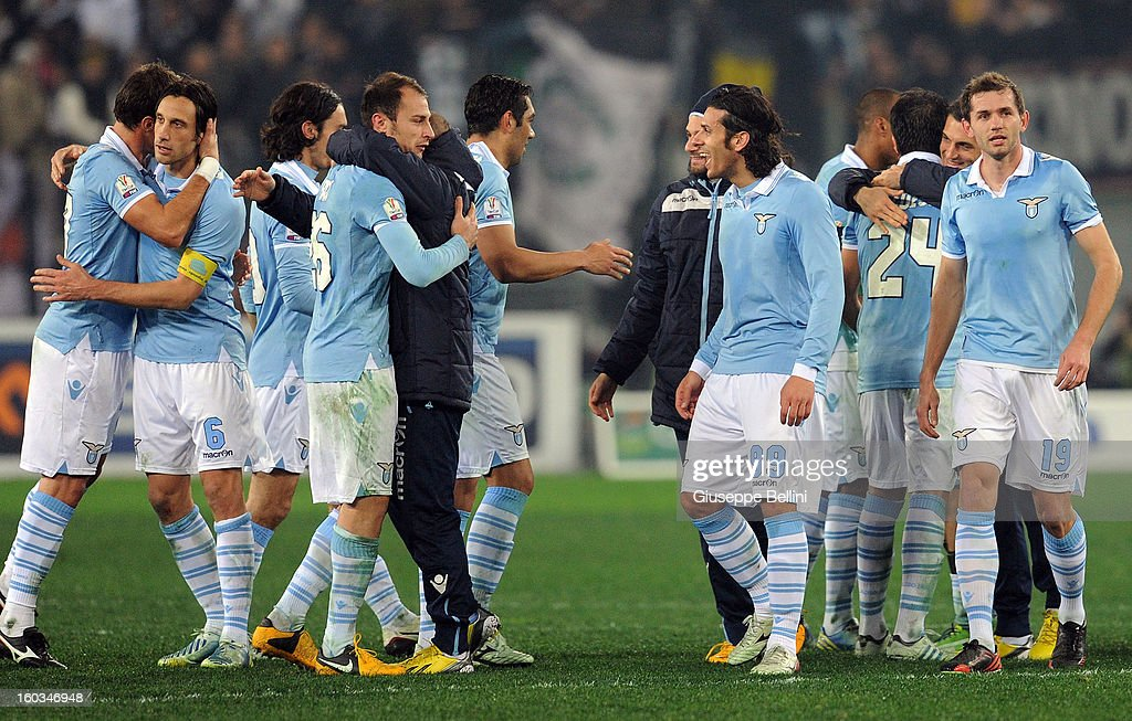 The players of Lazio celebrate the victory after the TIM cup match between S.S. Lazio and Juventus FC at Stadio Olimpico on January 29, 2013 in Rome, Italy.