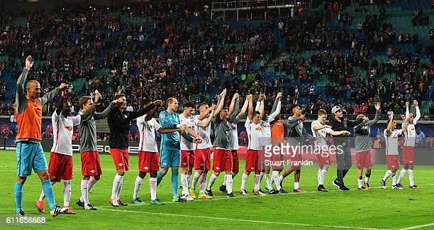 The players of Leipzig celebrate at the end of the Bundesliga match between RB Leipzig and FC Augsburg at Red Bull Arena on September 30 2016 in...
