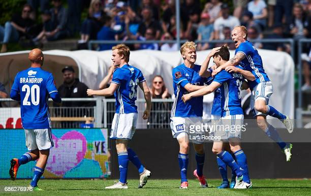 The players of Lyngby BK celebrate after scoring the 20 goal by Hallgrimur Jonasson during the Danish Alka Superliga match between Lyngby BK and FC...