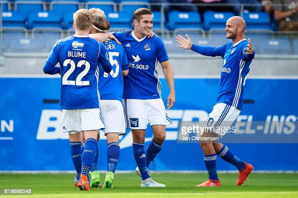 The players of Lyngby BK celebrate after the 10 goal from Mikkel Rygaard during the UEFA Europa League Qualification match between Lyngby BK and...