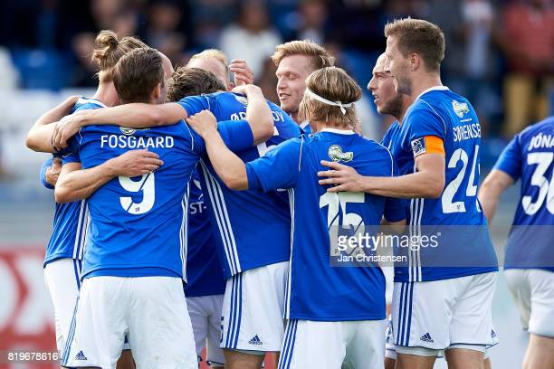 The players of Lyngby BK celebrate after the 20 goal from Martin Ornskov during the UEFA Europa League Qualification match between Lyngby BK and...