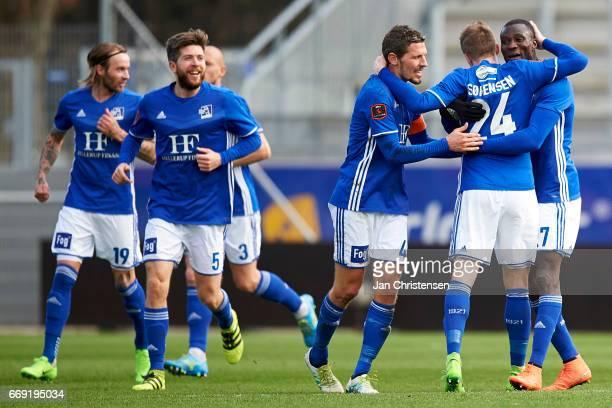 The players of Lyngby BK celebrates the 11 selfgoal from Kian Hansen of FC Midtjylland during the Danish Alka Superliga match between Lyngby BK and...