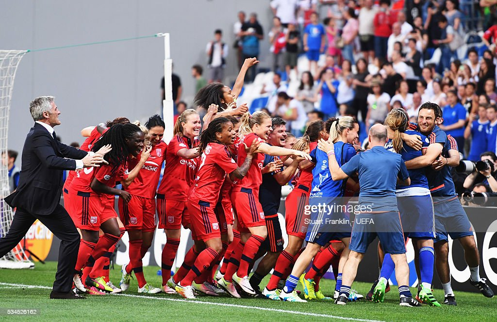 Reggio nell'Emilia, ITALY - MAY 26: The players of Lyon celebrate winning the penalty shoot out during the UEFA Women's Champions League Final at Mapei - Citta' del Tricolore Stadium on May 26, 2016 in Reggio nell'Emilia, Italy.
