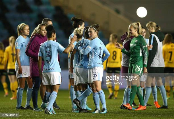 The players of Manchester City Women celebrate after the UEFA Women's Champions League match between Manchester City Women and LSK Kvinner at The...