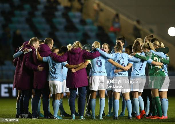 The players of Manchester City Women huddle after the UEFA Women's Champions League match between Manchester City Women and LSK Kvinner at The...
