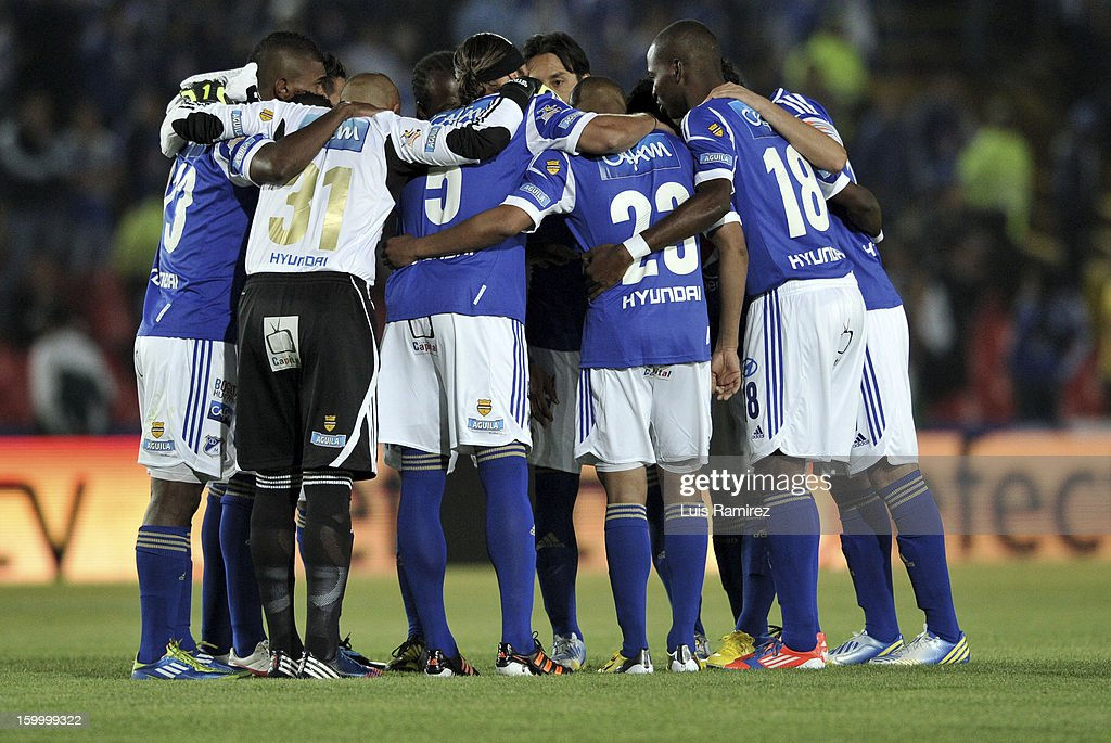 The Players of Millonarios during a match between Millonarios and Independiente Santa Fe as part of the Superliga Postobon 2013 at the Nemesio Camacho Stadium on January 24, 2013 in Bogota, Colombia.