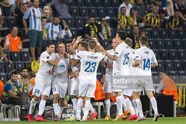 the players of Molde FK celebrate a penalty goal of Tommy Hoiland of Molde FK during the UEFA Europa League match between Fenerbahce SK v Molde FK on...