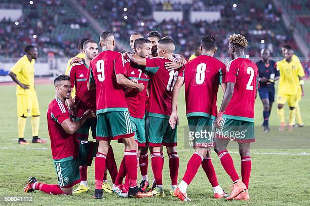 the players of Morocco celebrate the penalty goal of Hakim Ziyech of Morocco during the Africa Cup of Nations match between Morocco and Sao Tome E...