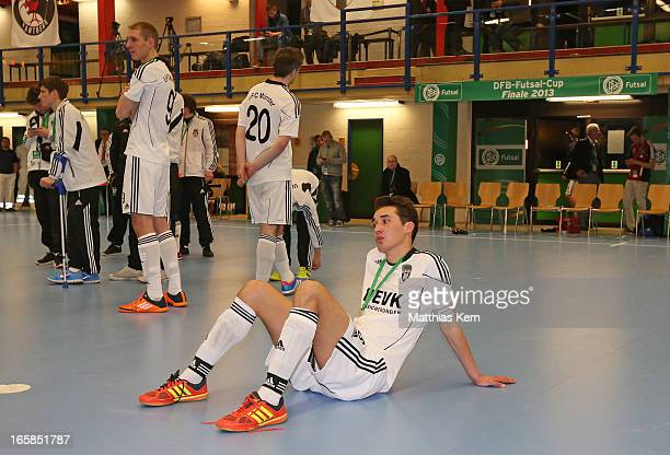 The players of Muenster show their frustration after loosing the DFB Futsal Cup final match between Hamburg Panthers and UFC Muenster at Sporthalle...