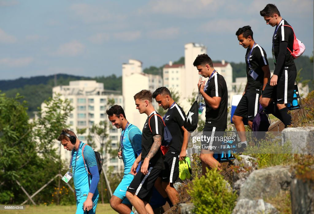 The players of New Zealand arrive for a training session at the Deokam Football Centre during the FIFA U-20 World Cup on May 26, 2017 in Daejeon, South Korea.