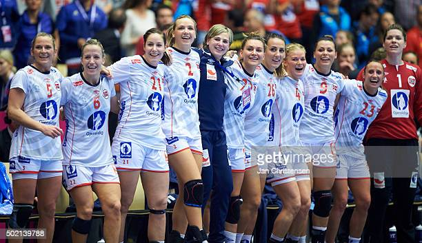 The players of Norway celebrating during the 22nd IHF Women's Handball World Championship Gold Medal match between Netherlands and Norway in Jyske...