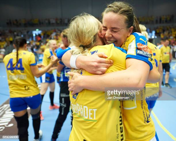 The players of Nykobing Falster Handball celebrate after the Primo Tours Ligaen 3 Final match between Nykobing Falster Handbold and Copenhagen...
