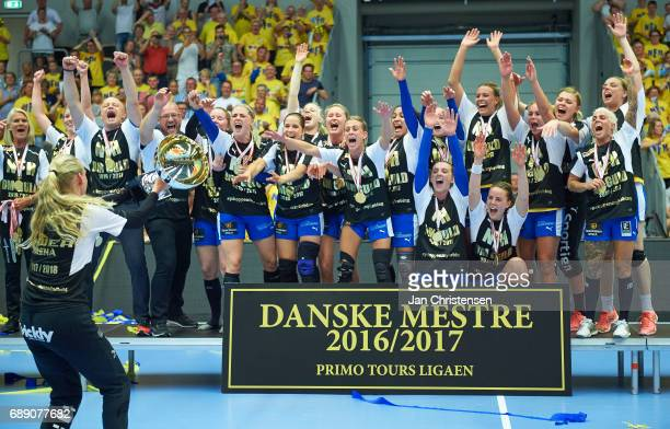 The players of Nykobing Falster Handbold celebrate after the Primo Tours Ligaen 3 Final match between Nykobing Falster Handbold and Copenhagen...