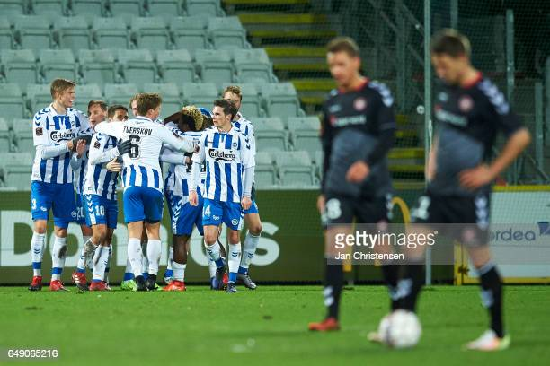 The players of OB Odense celebrates the 30 goal from Rasmus Jönsson during the Danish Alka Superliga match between OB Odense and AaB Aalborg at...