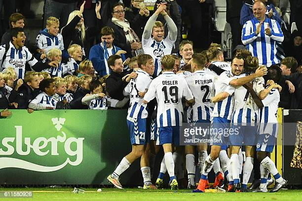 The players of OB Odense celebrating the 20 goal from Rasmus Jönsson during the Danish Alka Superliga match between OB Odense and AGF Arhus at TREFOR...