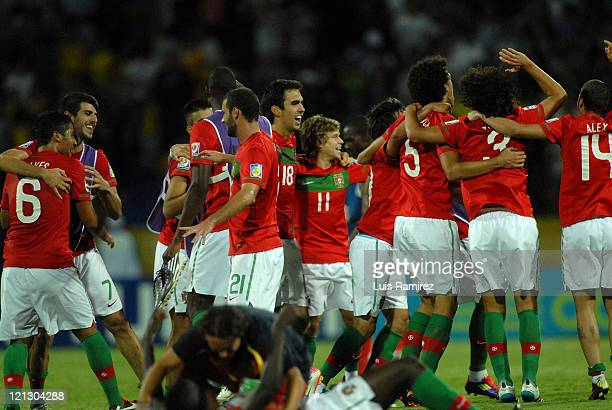 The players of Portugal celebrate after defeating France on a match for the semifinals between France and Portugal as part of the FIFA U20 World Cup...