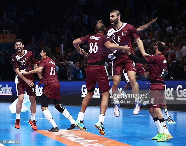 The players of Qatar celebrate their win over Germany during the 25th IHF Men's World Championship 2017 Round of 16 match between Germany and Qatar...