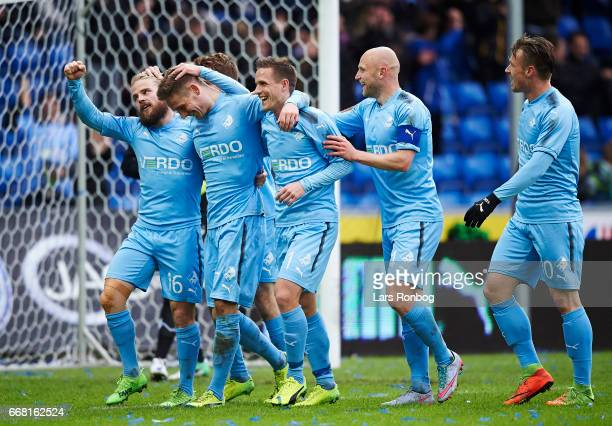 The players of Randers FC celebrate after the 11 goal scored by Andreas Bruhn during the Danish Cup DBU Pokalen quarterfinal match between Randers FC...