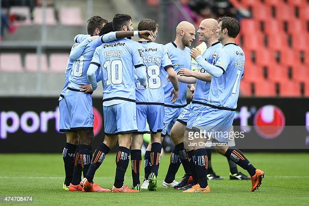 The players of Randers FC celebrating after the 01 goal from Djiby Fall during the Danish Alka Superliga match between Silkeborg IF and Randers FC at...