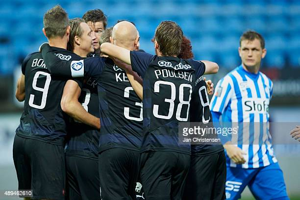 The players of Randers FC celebrating the 01 goal from Mikael Ishak during the Danish Alka Superliga match between Esbjerg fB and Randers FC at Blue...