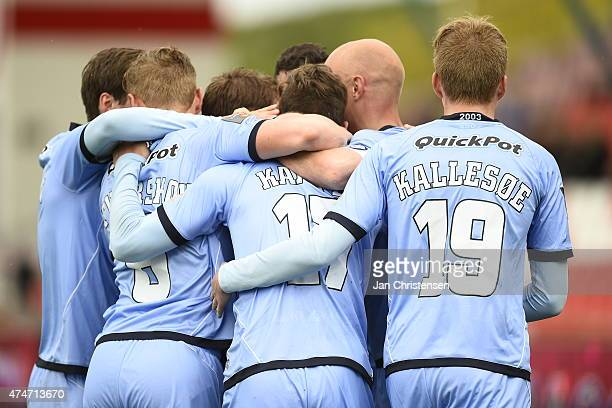 The players of Randers FC celebrating the 02 goal from Jonas Kamper during the Danish Alka Superliga match between Silkeborg IF and Randers FC at...